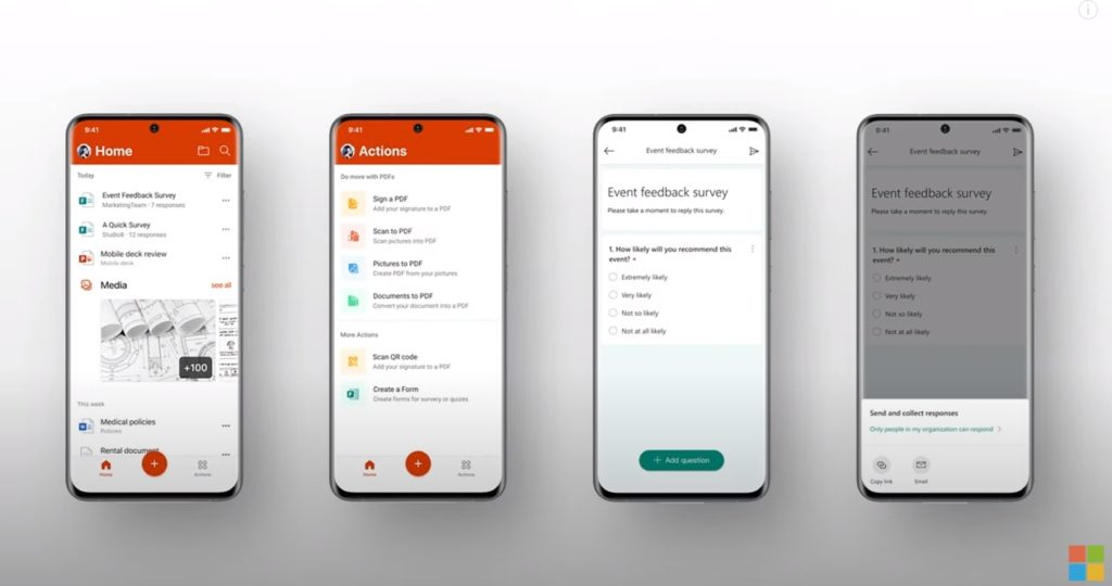 Microsoft Forms in the Office app
