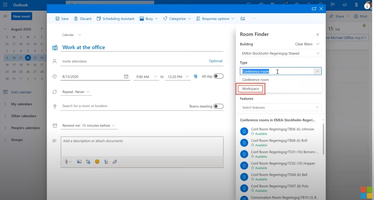 Workspace in Outlook