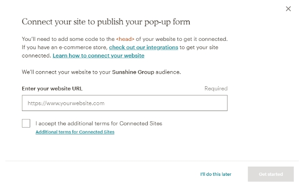 Connect popup form to your site