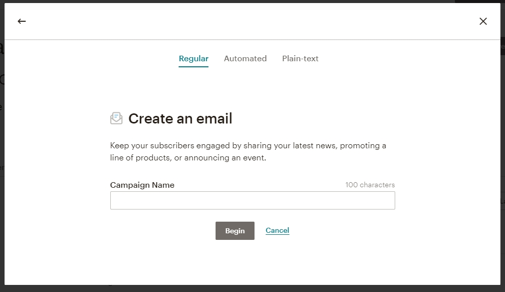 Set up and Send Your First Campaign | Choose a campaign name