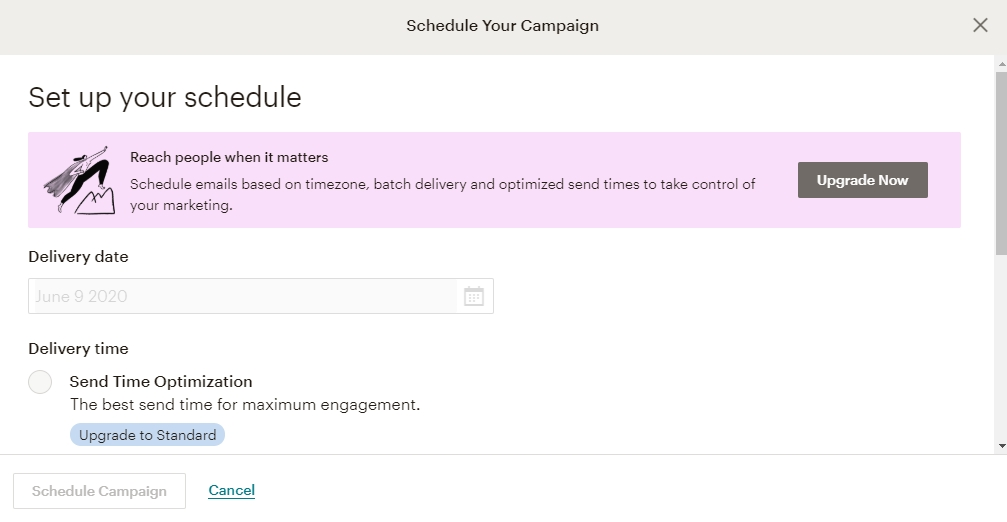 Set up and Send Your First Campaign | Schedule the campaign